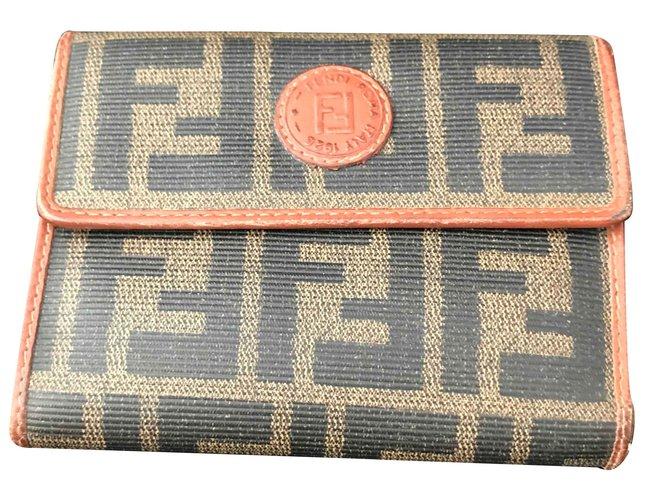 Fendi Fendi vintage wallet Wallets Leather,Cloth Black,Khaki .