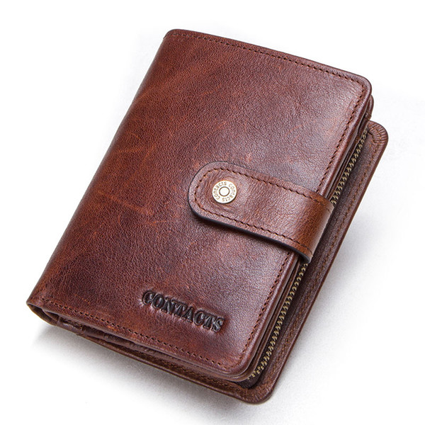 contact's genuine leather rfid vintage wallet men with coin pocket .