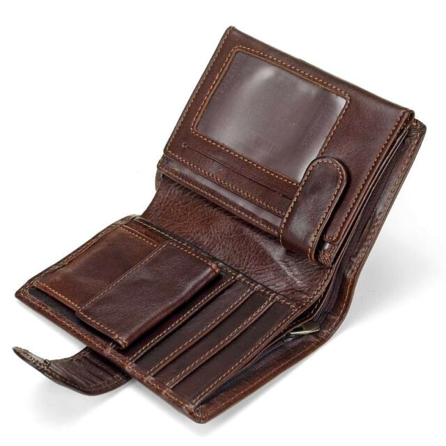 Mens Vintage Genuine Leather Wallet Coin Purse Card Case Trifold .
