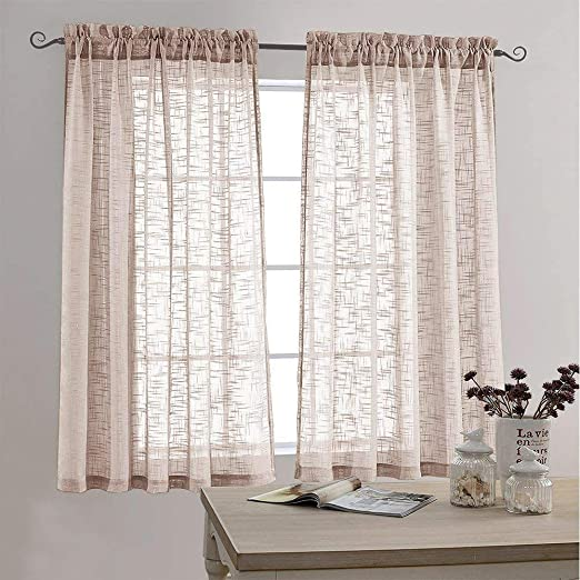 Amazon.com: Sheer Curtains Linen Look Voile Curtains for Living .