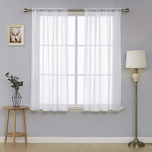 Amazon.com: Deconovo White Sheer Curtains Voile Curtains Rod .