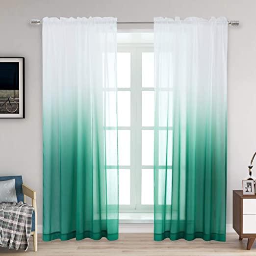 Amazon.com: Selectex Linen Look Ombre Sheer Curtains - Rod Pocket .