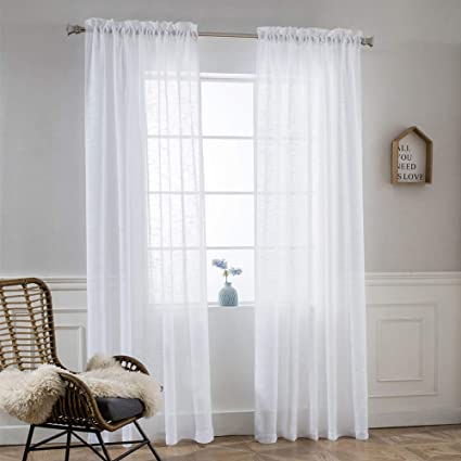 "Amazon.com: NICETOWN Linen Blend 84"" L Sheer Curtains - Pocket Top ."