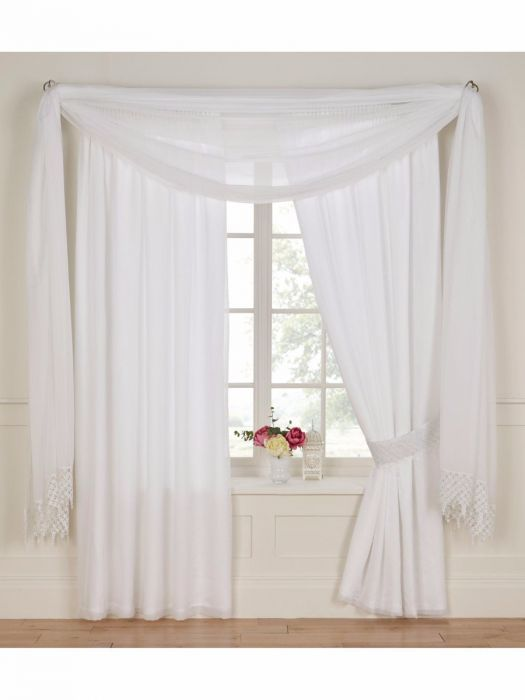 Wisteria Lined Voile Curtain (With images) | Voile curtains, White .