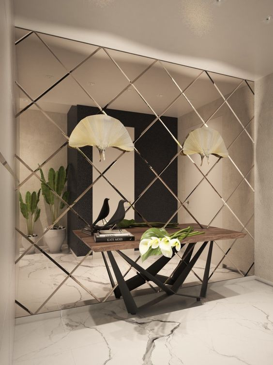 Bevelled diamond mirror wall in foyer (With images) | Interior .
