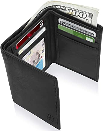 Genuine Leather Wallets For Men - Trifold Mens Wallet With ID .