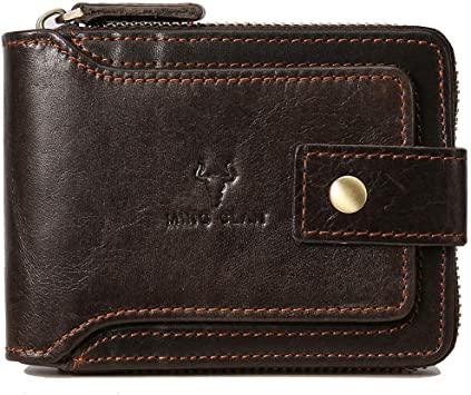 Amazon.com: Zipper Wallet Men RFID Blocking Leather Bifold Wallets .