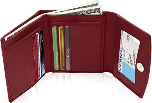 Small RFID Wallets For Women - Leather Slim Compact Womens Wallet .