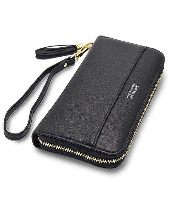 Women Leather Wallets Zip Around Large Clutch Card Holder .