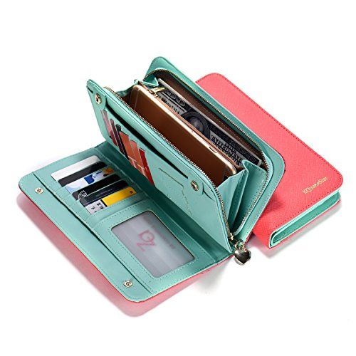 Aqua Pink Women Lady Leather Wallet Purse Credit Card (With images .