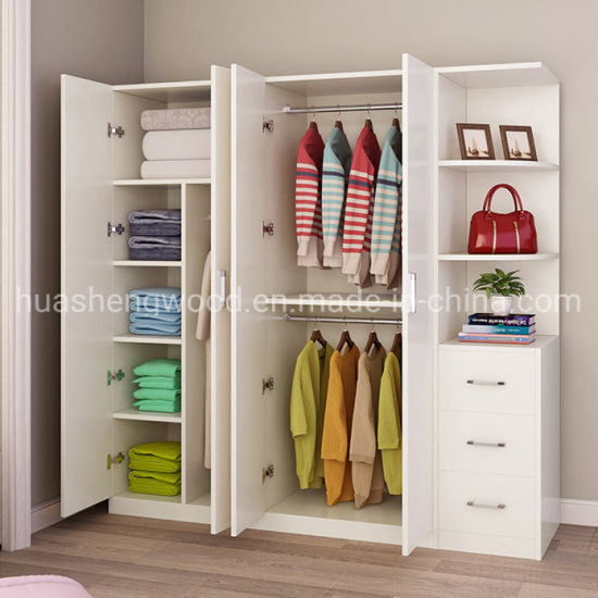 China Melamine Pb Cheap Quality Door Wardrobe with Drawers .