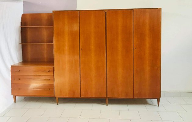 Italian Wardrobe with Drawers and Shelves, 1960s for sale at Pamo
