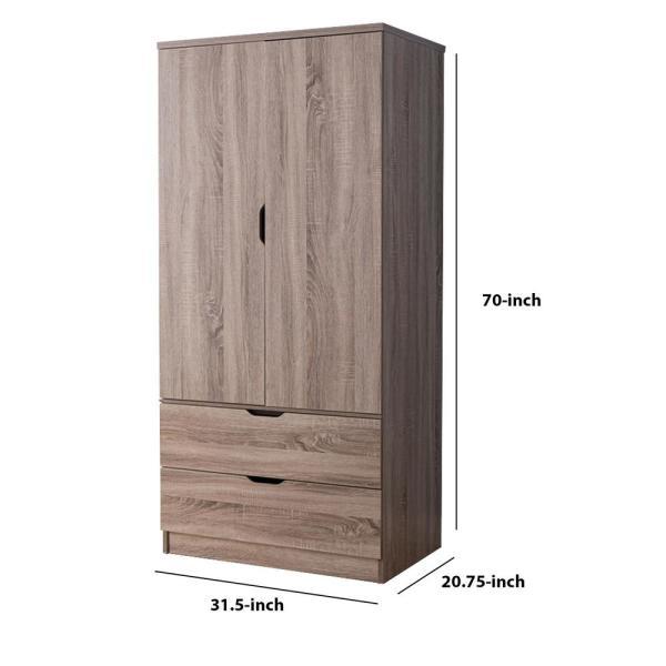 Benzara Gorgeous Brown 2-Door Wardrobe with 2-Drawers BM141821 .