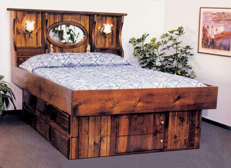 King Crestwood Wood Frame Waterbed with 12 drawer pedestal | Water .