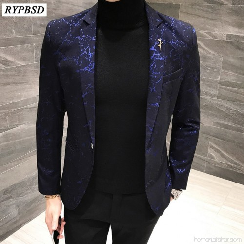 Brand Men Blazer Fashion Floral Slim Fit Suits & Blazers Autumn .