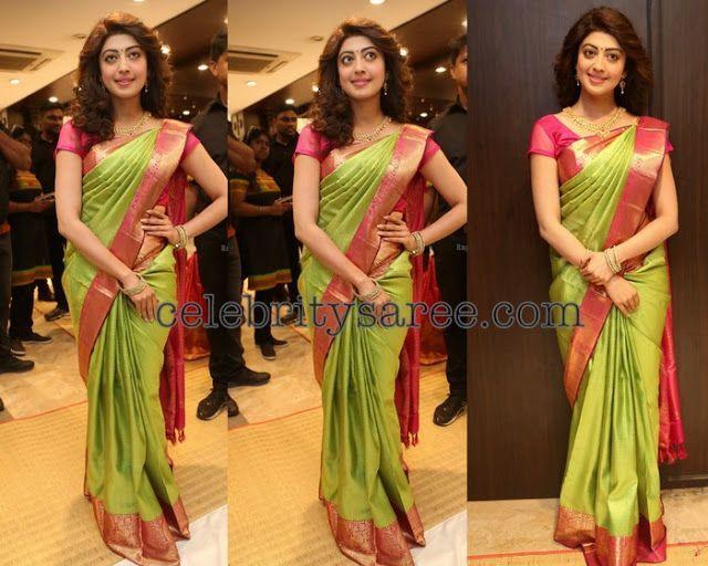 Praneetha in Neon Green Silk Saree - Saree Blouse Patterns (With .