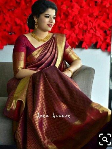 Wedding Wear Design Silk Sarees, Length: 6.3 m (With Blouse Piece .
