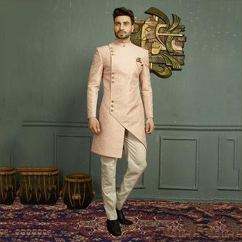 Latest Designer Wedding Wear Jacquard Mens Sherwanis Wholesale .