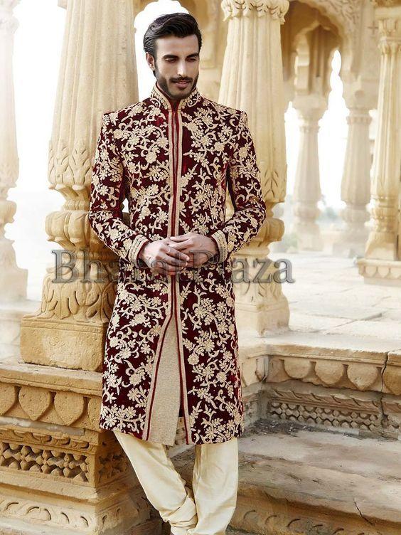 INDY SHERWANIS] Maroon Velvet Sherwani (With images)   Indian .