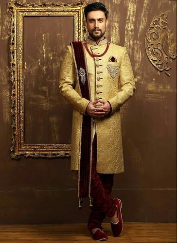Cream And Marron Designer Mens Wedding Sherwani, Rs 6000 /piece .
