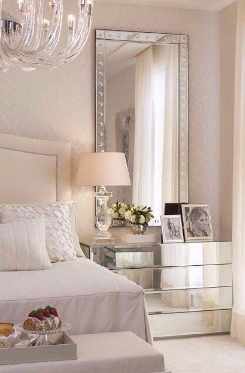 White bedroom with mirrored furniture | Elegant bedroom design .