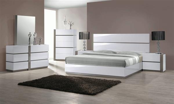 Manila Modern Gloss White Grey 4pc Bedroom Set W/Twin Bed .