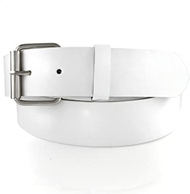 GENUINE LEATHER SNAP ON WHITE BELT WITH A DETACHABLE BUCKLE, FITS .