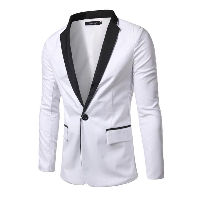 2016 brand clothing white men blazer casual slim fit long sleeve .