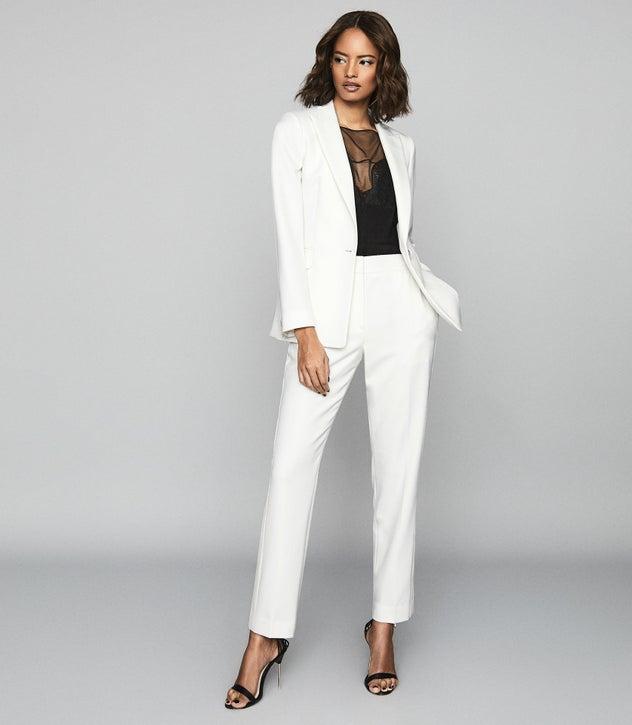 Leigh White Wool Blend Tuxedo Blazer – REI
