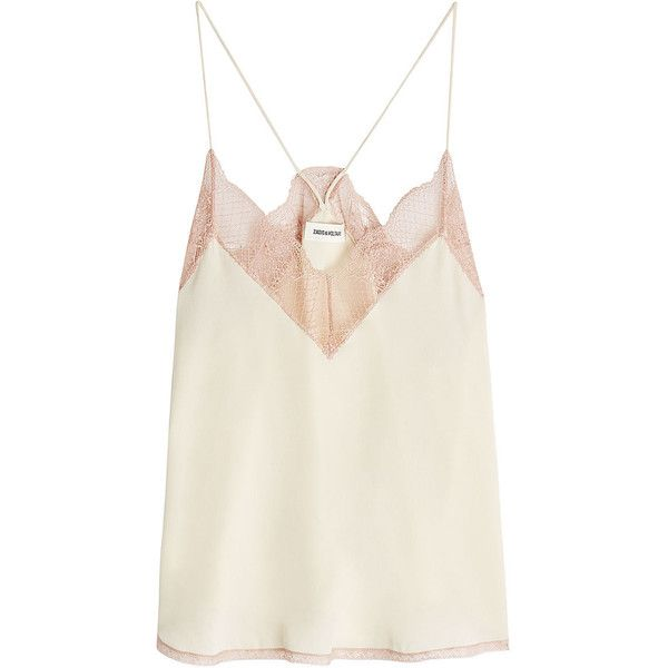 Zadig & Voltaire Lace Trim Silk Cami Top found on Polyvore .