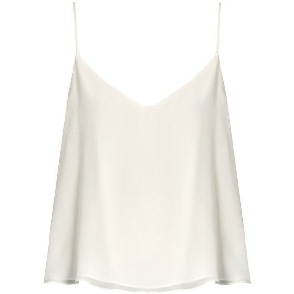 Raey Deep V-neck silk cami top found on Polyvore featuring tops .