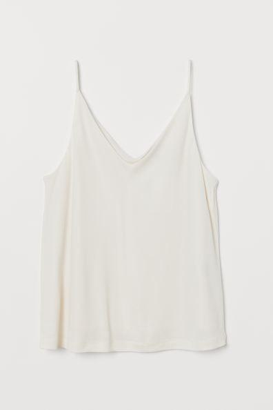 V-neck Camisole Top - Natural white - Ladies | H&M