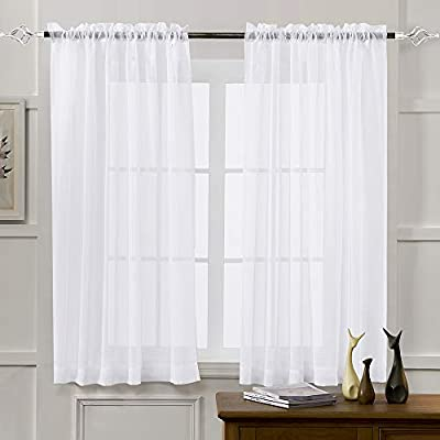 Amazon.com: MYSTIC-HOME Sheer Curtains White 63 Inch Length, Rod .