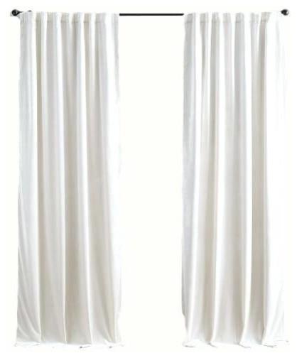 Luxury Velvet Curtain Panels, White, Set of 2 - Traditional .