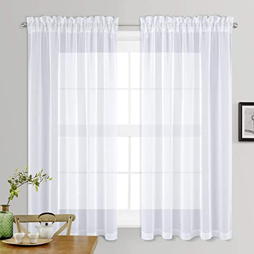 Amazon.com: NICETOWN Sheer White Curtains for Bedroom - Rod Pocket .