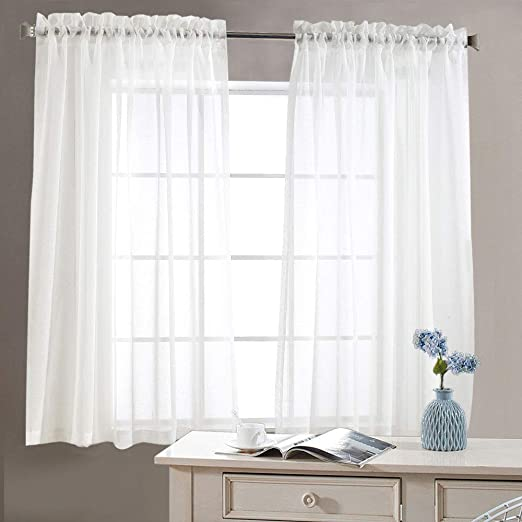 Amazon.com: jinchan Sheer White Curtains for Living Room 63 inch .