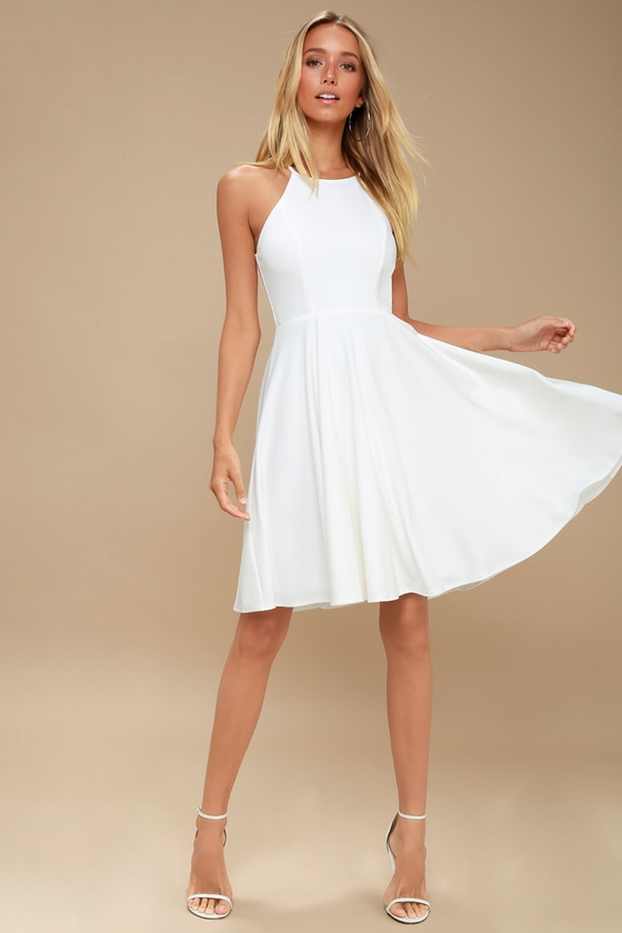 Cute White Dress - Midi Dress - Fit and Flare Dre