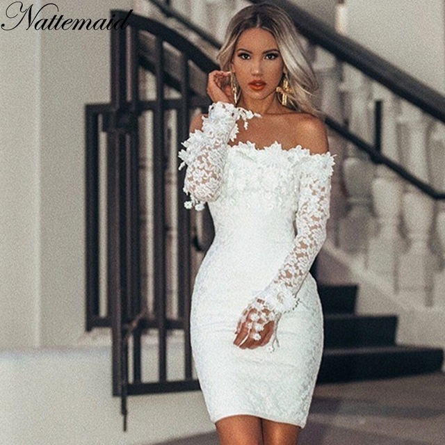 NATTEMAID Hollow Out Floral White Lace Dresses Off Shoulder .
