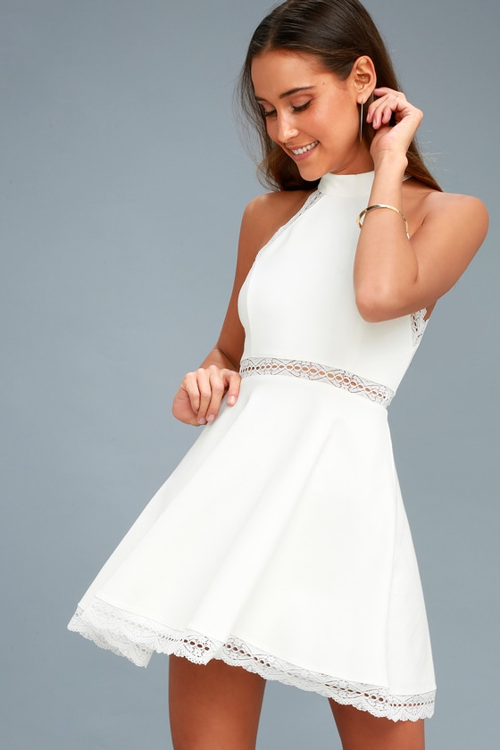 White Dress - Lace Dress - Skater Dress - Halter Dress - L