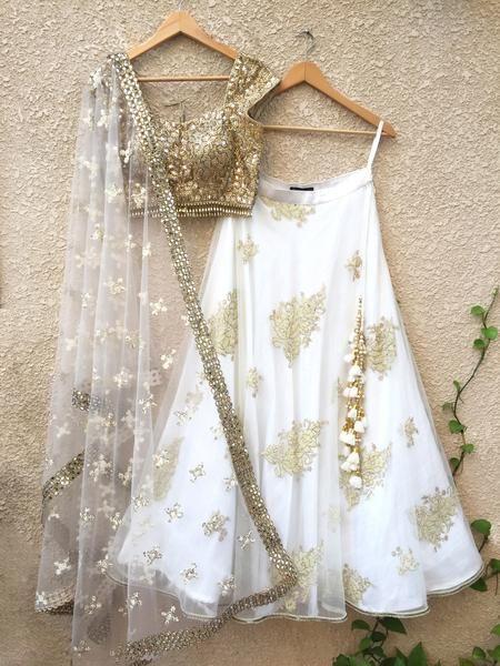 Gold Mirror Work & White Lehenga Set . . . . . #indianwedding .