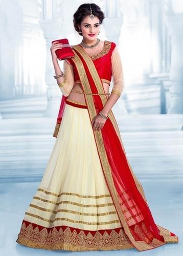 Party Wear Embroidered Red Off White Net Lehenga Choli, Rs 550 .
