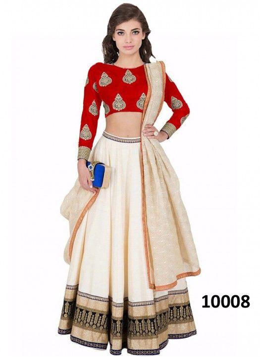 Buy Red Banglori Silk With White Lehenga Choli For more inquiry .