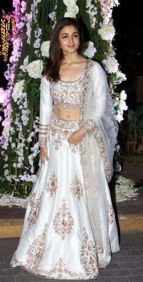 Alia Bhatt In White Lehenga Cho
