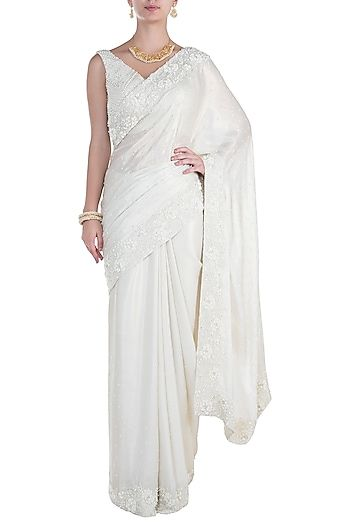 Soshai Featuring a white saree in shimmer georgette base with .