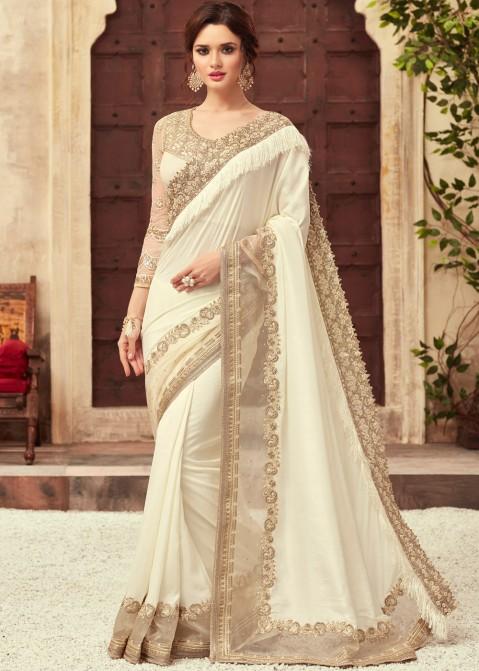Off-White Embroidered Art Silk Saree Saree 2230SR