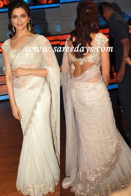 deepika padukone in designer off white saree (With images) | Off .