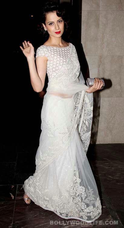 Kangana ranaut in abujani sandeep khosla white lace saree (With .