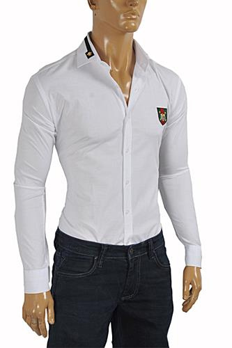 Mens Designer Clothes | GUCCI Men's Button Front Dress Shirt in .