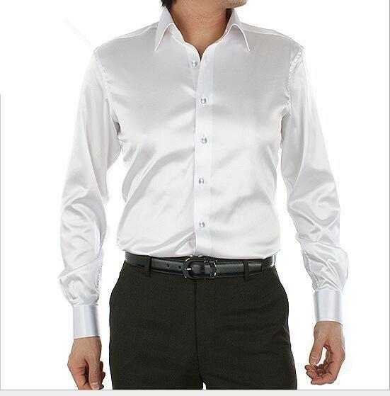 spring autumn New style men white silk Tuxedo Shirts plus size S .