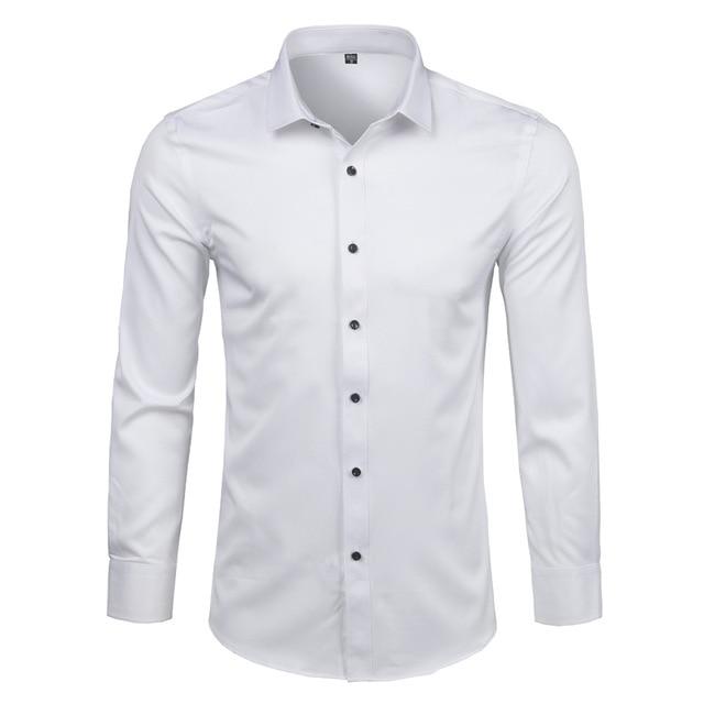 White Men's Bamboo Fiber Dress Shirts Slim Fit Long Sleeve Shirt .